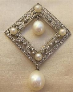 Superb all Platinum Edwardian rose diamonds and pearls pendant  wow